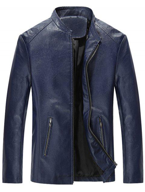 Slim Fit Stand Collar Zip Up PU Leather Jacket - BLUE 5XL