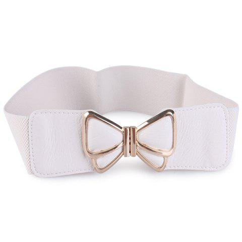 Butterfly Buckle Artificial Leather Splicing Belt - WHITE