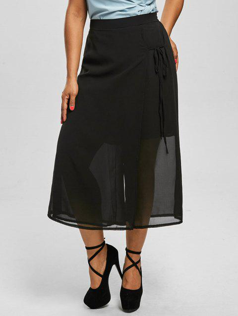 Chiffon Plus Size Wide Leg Culottes Pants - BLACK 3XL