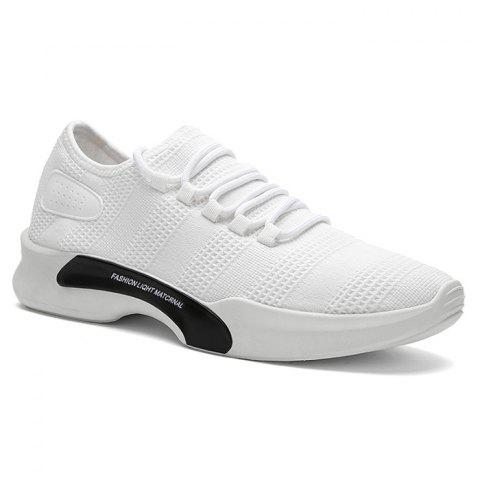 Mesh Breathable Tie Up Athletic Shoes - WHITE 43