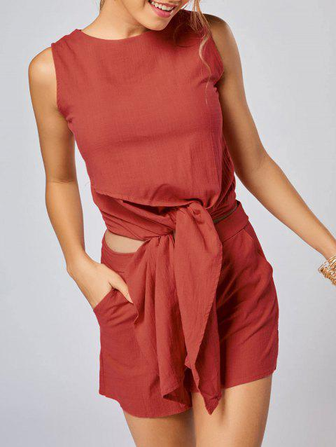 Sleeveless Knotted Top and Pockets Shorts Set - JACINTH L