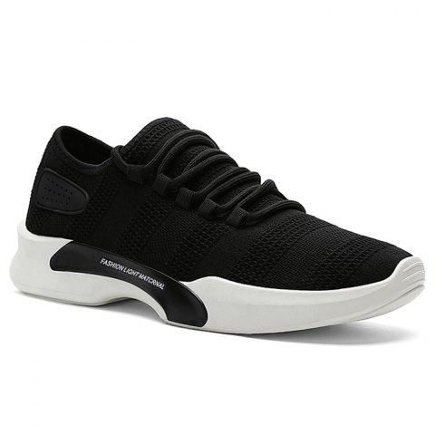 Mesh Breathable Tie Up Athletic Shoes - BLACK 42