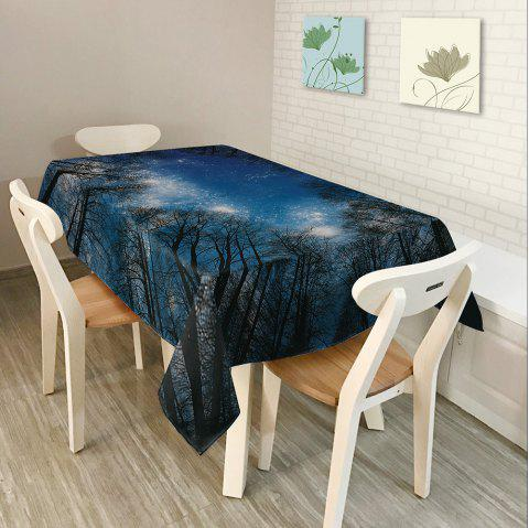 Starry Night Tree Print Waterproof Table Cloth - DEEP BLUE W54 INCH * L54 INCH