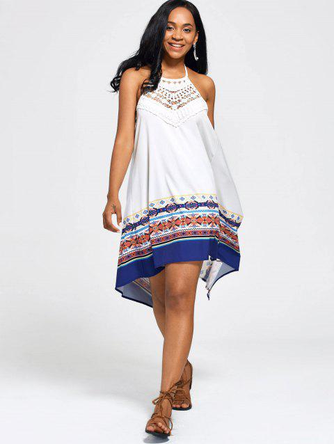 High Low Backless Halter Handkerchief Dress - WHITE XL