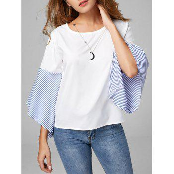 Color Block Striped Flare Sleeve Blouse