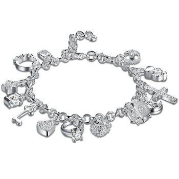 Heart Cross Ball Moon Charm Bracelet