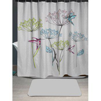 Bird Dandelion Print Waterproof Shower Curtain