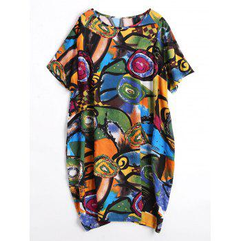 Plus  Size Funny Painting Baggy Dress with Pockets