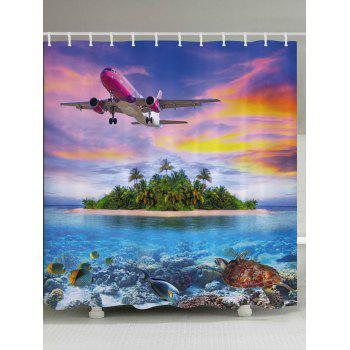 Airplane Island Ocean Print Fabric Bathroom Shower Curtain