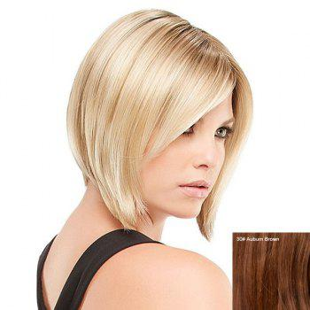 Short Side Bang Straight Inverted Bob Human Hair Wig