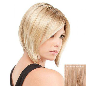 Short Side Bang Straight Inverted Bob Human Hair Wig - BROWN WITH BLONDE BROWN/BLONDE