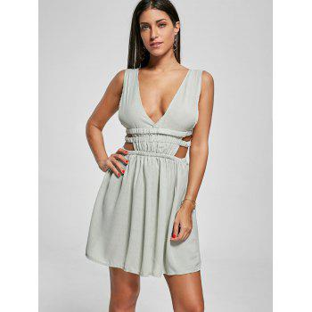 Cut Out Side Plunging Neck Mini Dress - GREEN M