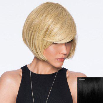 Inclined Bang Straight Short Bob Human Hair Wig - JET BLACK JET BLACK