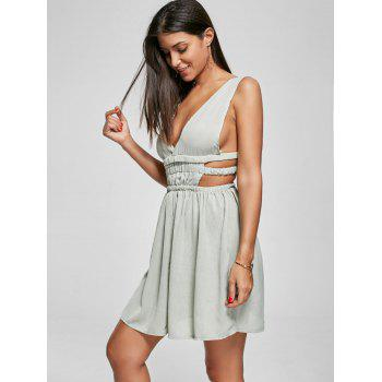 Cut Out Side Plunging Neck Mini Dress - GREEN GREEN
