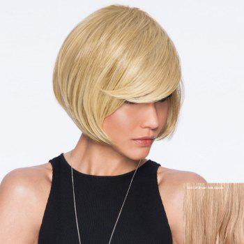 Inclined Bang Straight Short Bob Human Hair Wig - BROWN WITH BLONDE BROWN/BLONDE