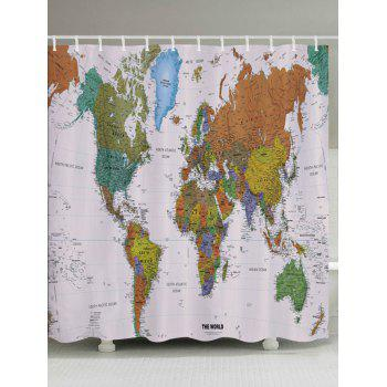 World Map Pattern Fabric Bathroom Shower Curtain