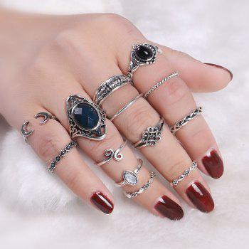 Moon Vintage Cuff Finger Ring Set