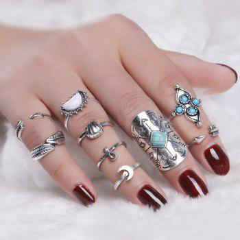 Crucifix Moon Arrow Leaf Finger Ring Set
