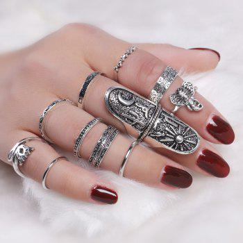 Moon Elephant Sun Full Finger Ring Set