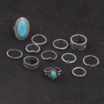 Faux Turquoise Boho Oval Ring Set -  SILVER