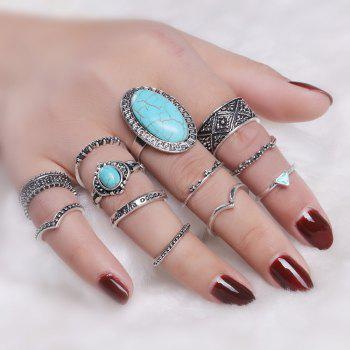 Faux Turquoise Boho Oval Ring Set - SILVER SILVER