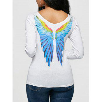 Long Sleeve Angel Wings Print T-shirt