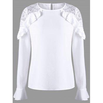 Lace Panel Ruffle Bell Sleeve Blouse