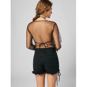 Flare Sleeve See Thru Mesh Crop Top - BLACK BLACK