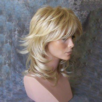 Medium Side Bang Tail Upwards Layered Slightly Curly Human Hair Wig - GOLDEN BROWN WITH BLONDE GOLDEN BROWN/BLONDE