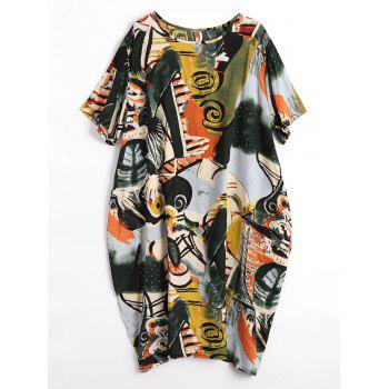 Plus Size Funny Graphic Baggy Dress with Pockets