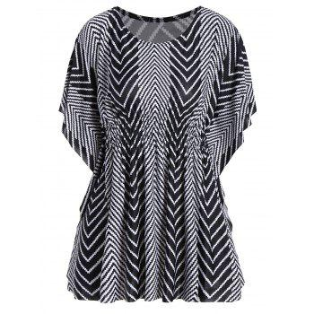 Zig Zag Butterfly Sleeve Plus Size Tunic Top