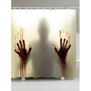 Blood Hand Shadow Printed Waterproof Shower Curtain