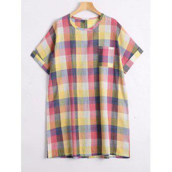 Colorful Plaid Plus Size Tunic Top