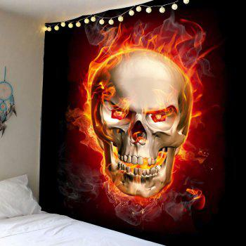 Skull in Fire Wall Art Tapestry