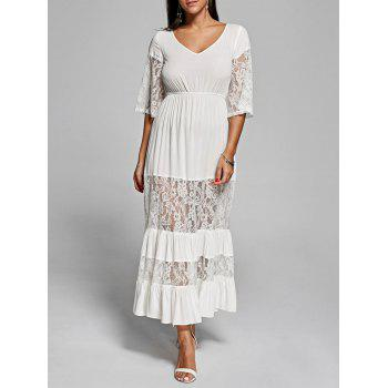 Lace Insert V Neck Romantic Boho Maxi Dress - OFF-WHITE M