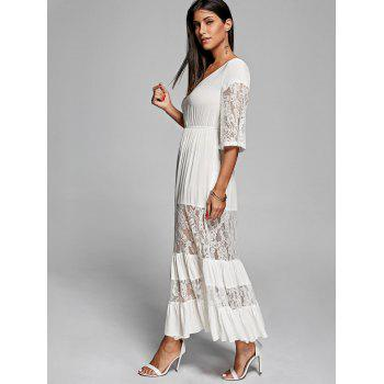 Lace Insert V Neck Romantic Boho Maxi Dress - M M