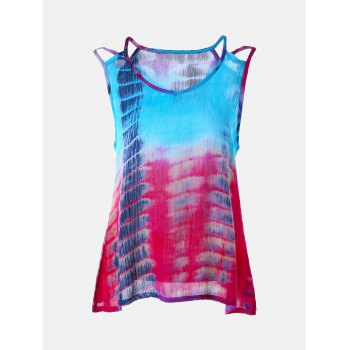 Sleeveless Tie-Dyed Print Baggy Blouse - S S