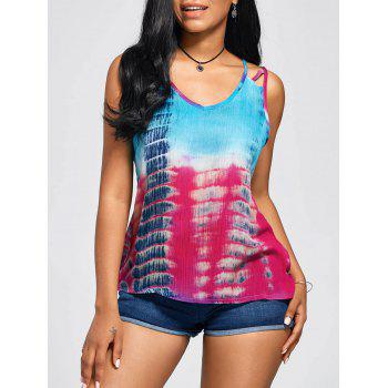 Sleeveless Tie-Dyed Print Baggy Blouse - COLORMIX S