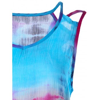 Sleeveless Tie-Dyed Print Baggy Blouse - L L