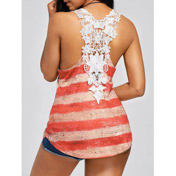 Lace Insert Stars and Stripes Racerback Tank