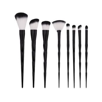 Ensemble de brosses de maquillage en forme de diamant 8Pcs - Noir