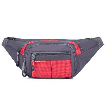 Unisex Colorblock Waist Bag - RED RED