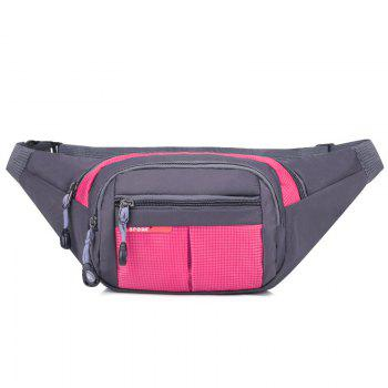 Unisex Colorblock Waist Bag - ROSE RED ROSE RED