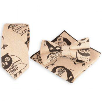 Necktie Handkerchief Bowtie with Cartoon Owl Printing