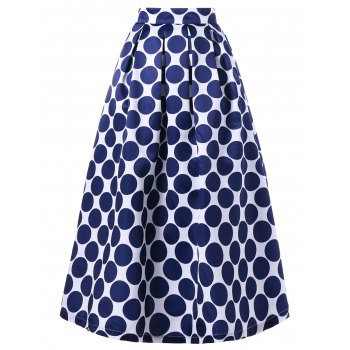 Polka Dot Print Maxi Swing Skirt