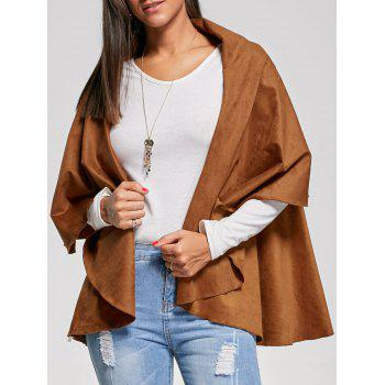 Collarless Faux Suede Cape Jacket