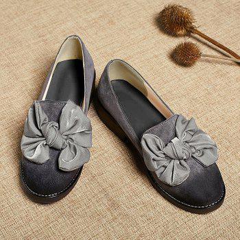 Bowknot Suede Flat Shoes