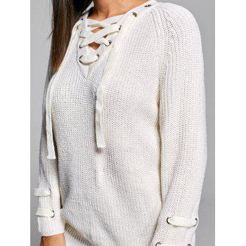 Lace Up V Neck Knit Sweater - OFF WHITE ONE SIZE