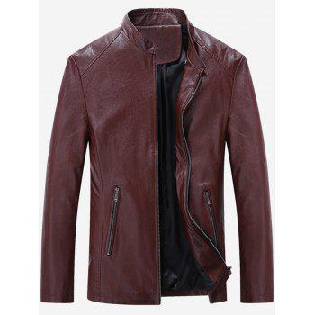 Slim Fit Stand Collar Zip Up PU Leather Jacket
