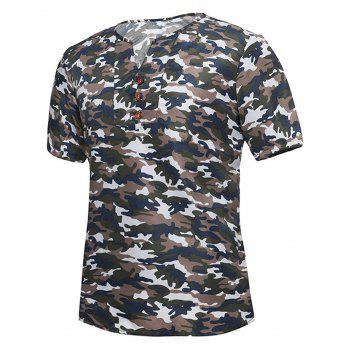 Notch Neck Button Embellished Camo T-shirt